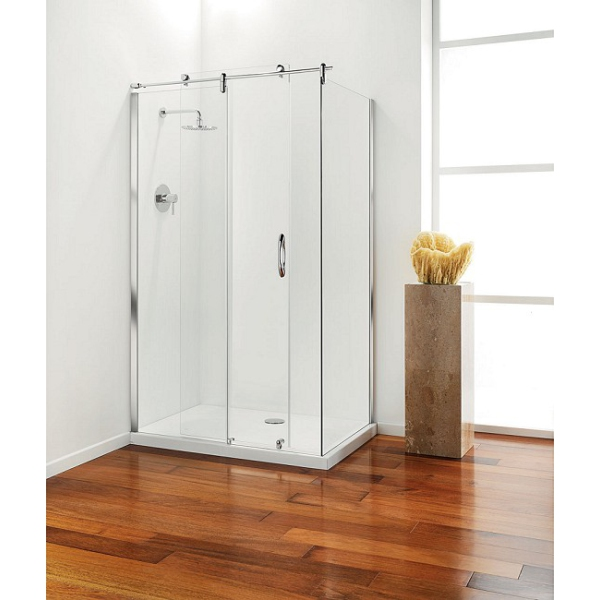Coram Premier Frameless Hinged Door 900mm Plain Glass
