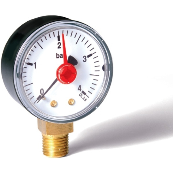 "Pressure Gauge 0-4 Bar 1/4"" X 50mm"
