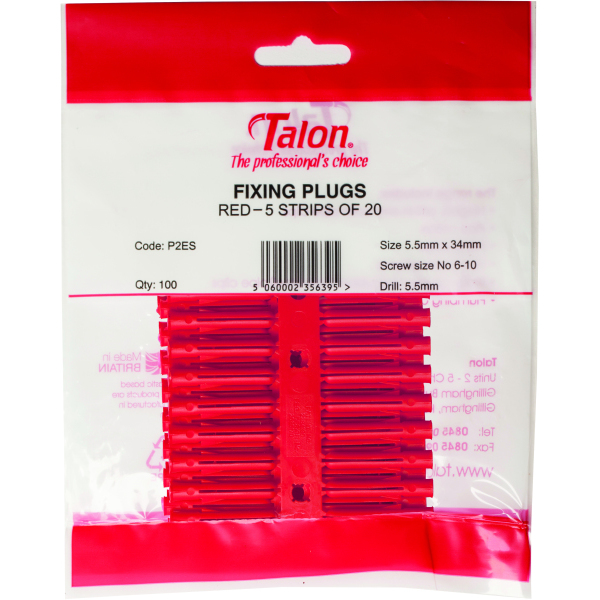 Talon Plastic Wallplugs x 100 Red