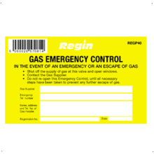 Regin Gas Emergency Control Sticker (8) REGP40
