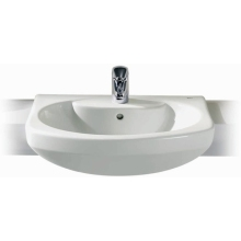 Roca Senso Semi Recessed Basin 1 Tap Hole White