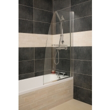 Roman Haven Bath Screen Single Panel Curved Screen With Integrated Towel Rail Chrome