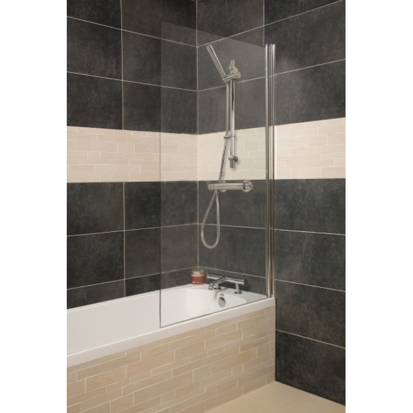 Roman Haven Bath Screen Single Panel Screen With Rectangular Edge Chrome