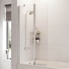 Roman Haven Inward Folding Bath Screen (6mm) 1500mm x 910mm - Silver