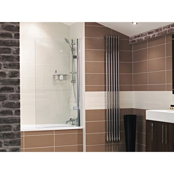 Roman Lumin8 Frameless Hinged Square Bath Screen (8mm) 1500mm x 835mm Silver - Left Hand