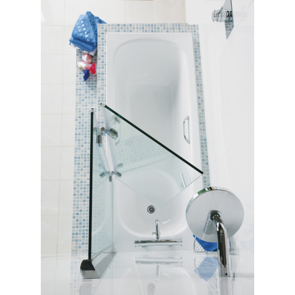 Roman Lumin8 Hinged Folding Bath Screen (8mm) 1500mm x 910mm Silver - Right Hand