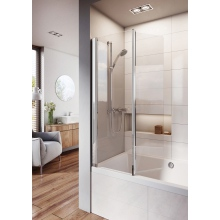 Roman Lumin8 Inward Folding Bath Screen (8mm) 1500mm x 910mm - Silver