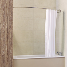 Roman Lumin8 Mini Fixed Bath Screen (8mm) 1500mm x 250mm Silver with Curtain Rail