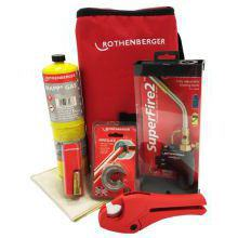 Rothenberger Hot Bag (Includes Super Fire Torch, MAPP Gas Cylinder, 15mm Pipe Slice, Rocut 28 Pex, Soldering Mat & Torch Cool