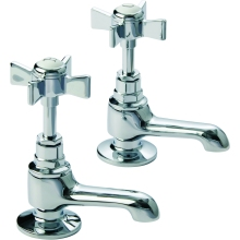 Suregraft Edwardian Style Basin Taps Pair Chrome Plated