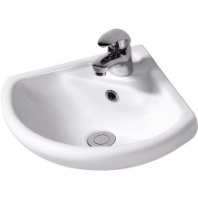 Suregraft Harmony Wall Hung Corner Basin 1 Tap Hole White
