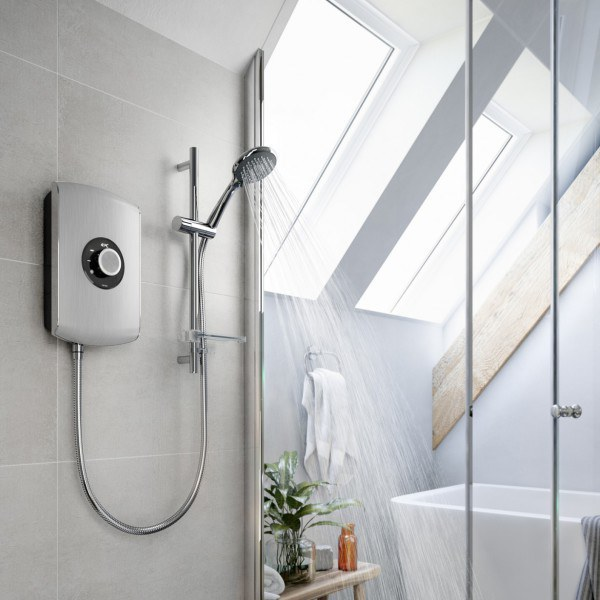 Triton Amore 9.5kW Electric Shower - Brushed Steel
