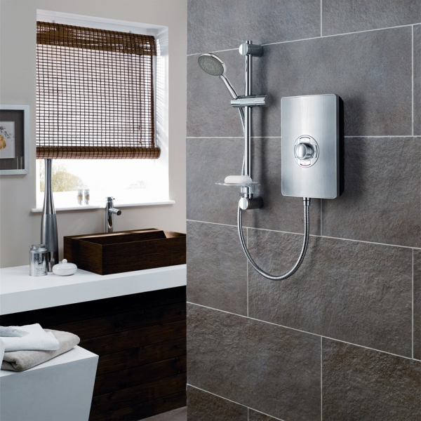 Triton Aspirante 9.5kW Electric Shower - Brushed Steel