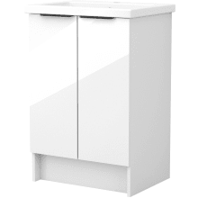 Vio 600mm Freestanding Double Door Washbasin Unit Only -White Gloss