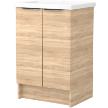Vio 600mm Freestanding Double Door Washbasin Unit Only -Natural Oak