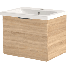 Vio 600mm Wall-Hung Single Drawer Washbasin Unit Only -Natural Oak