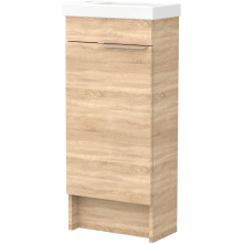 Vio Freestanding Cloakroom Washbasin Unit Only Lh -Natural Oak